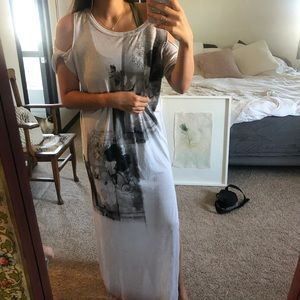 Free people maxi dress with cut out shoulders